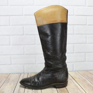 Vintage! FRYE Two Tone Tall Riding Boots Size 6